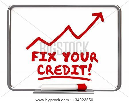 Fix Your Credit Arrow Going Up Improvement Words 3d Illustration