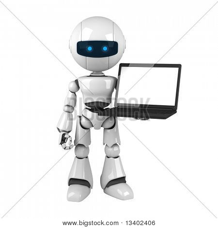 Funny robot stay with laptop