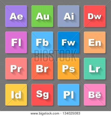 Set of flat square signs with programs and valuta on the gray background