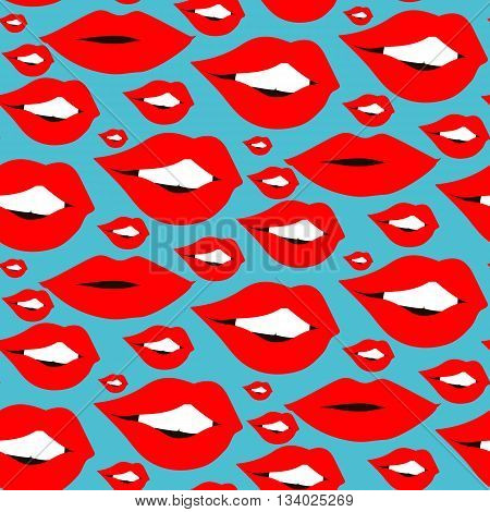 Lips seamless pattern. Cosmetics and makeup. Closeup beautiful lips of girl with red lipstick. Sexy wet lip make-up. Open mouth. Sweet kiss