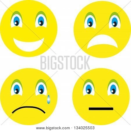 4 smiley: smile, anger, resentment, thinking on a white background