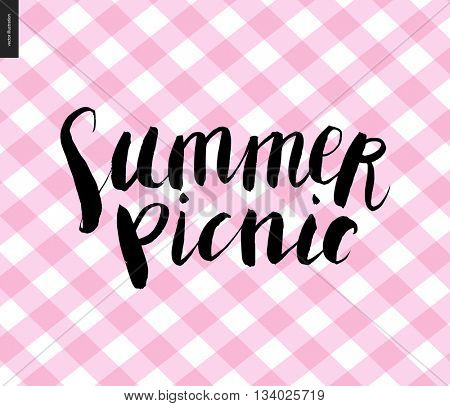 Summer picnic calligraphy on checkered plaid pink background - vector calligraphic handwritten lettering on the picnic plaid pattern background