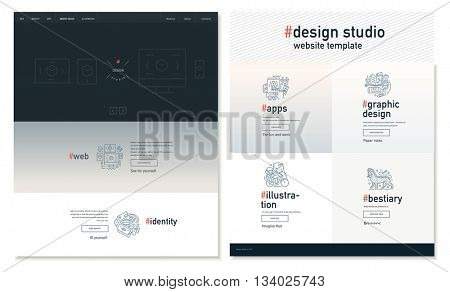 Design studio website flat contemporary template - website layout on design with topic blocks of graphic design, web design, identity, illustration, application development, company profile, bestiary poster