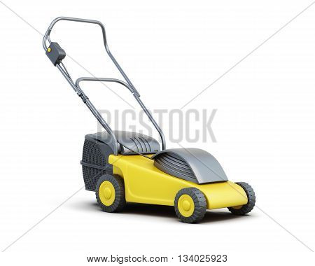 Yellow lawn mower isolated on a white background. Electric lawn mower. 3d rendering.