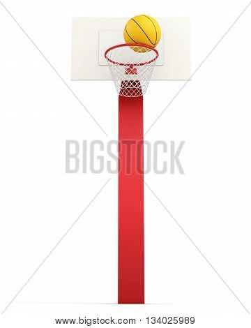 Basketball backboard and ball isolated on white background. 3d rendering.
