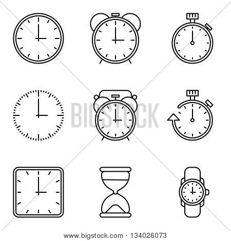 Time and clock vector line icons set. Clock of sign and illustration collection of clocks