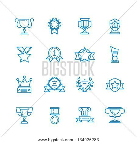 Prizes, trophy, awards vector outline icons. Trophy of achievement symbol, icon winner and cup trophy for sport illustration
