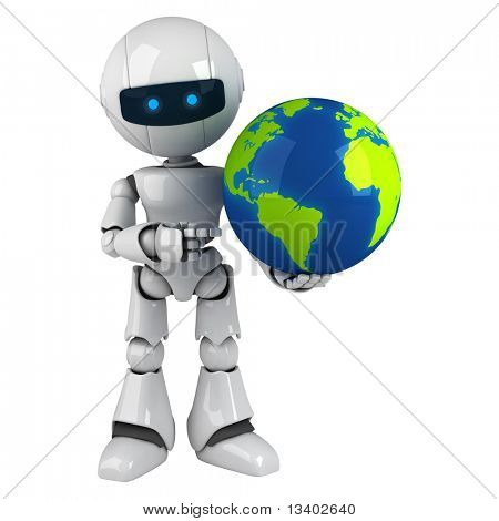 Funny white robot stay with globe