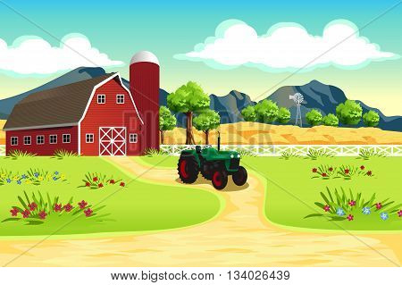 A vector illustration of agricultural farm scene
