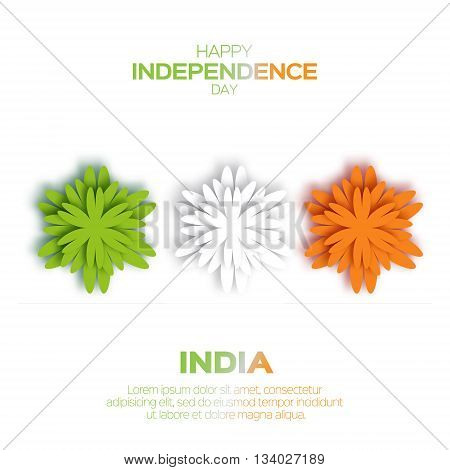 Origami Flower national tricolor Indian flag. Indian Independence Day. Celebration background. Republic Day. Paper cut design concept for 15th August. Applique Vector Illustration