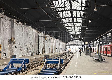 Wiesbaden, Germany - June 3, 2014: classicistical railway station in Wiesbaden Germany