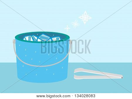 Bucket of Ice with snow symbols and tongs. Editable Clip Art.