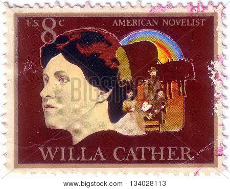 Usa - Circa 1973: A Stamp Printed In Usa Shows Willa Sibert Cather (1873-1947), Novelist, Pioneer Fa