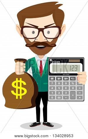 Vector flat illustration of a businessman with pile of money. Rich man counting wealth. Growth of fortune savings