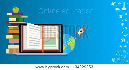 Online education concept. Distance education, online learning, certificate programs, international educational projects, start of successful career. Flat design vector illustration .