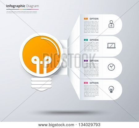 Idea infographic template. idea graphic diagram, vector stock.