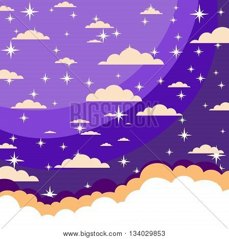 night sky with stars and clouds. Stock vector illustration