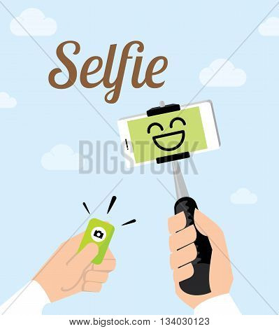Vector : Hand Holding Selfie Monopod Stick And Other Hand Click Bluetooth Remote To Shot A Photo At