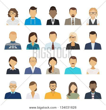 Business people flat avatars. Men and women business and casual clothes icons. Vector illustration