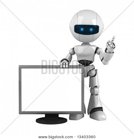 Funny white robot stay with monitor