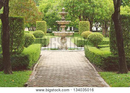 fountain multi-tiered in the park retro tone