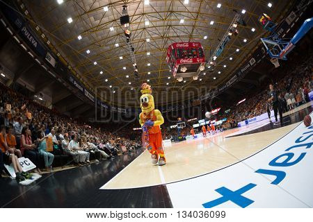 VALENCIA, SPAIN - JUNE 9th: Valencia mascot during 4th playoff match between Valencia Basket and Real Madrid at Fonteta Stadium on June 9, 2016 in Valencia, Spain