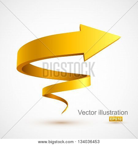 Yellow spiral arrow 3D. Vector Illustration EPS 10