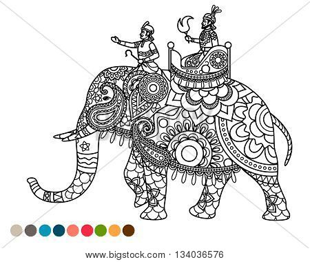 Antistress coloring page indian maharaja sitting on elephant decorated mandala ornament and colors samples