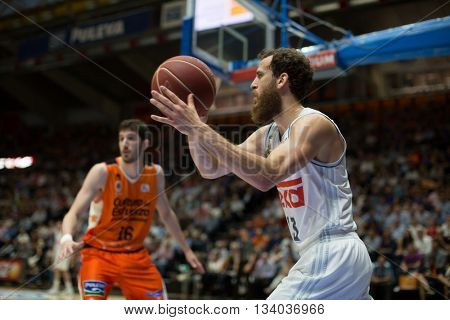 VALENCIA, SPAIN - JUNE 9th: Rodriguez with ball during 4th playoff match between Valencia Basket and Real Madrid at Fonteta Stadium on June 9, 2016 in Valencia, Spain