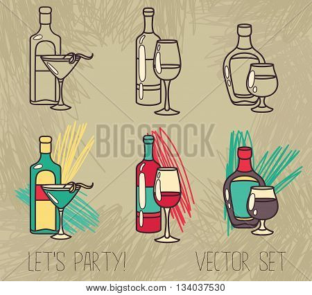 set of alcohol bottles: wine, vermouth and brandy, vector illustration