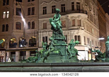 VIENNA, AUSTRIA - OCT 3, 2013: bronce Providentia Fountain in vienna