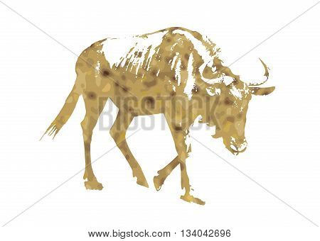 Silhouette of Blue wildebeest - Connochaetes taurinus filled with desert yellow color scheme. Vector graphic. Natural theme. Antelope stencil. Mammal theme. Cutout stencil animal. Yellow reflections. The great migration of animals.