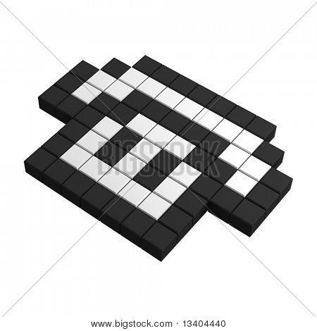 3d telephone pixel icon