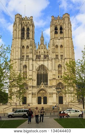 BRUSSELS, BELGIUM - MAY 10, 2013: Brussels Cathedral of Saint-Michel-et-Gyudyul is one of the brightest representatives of Gothic art.