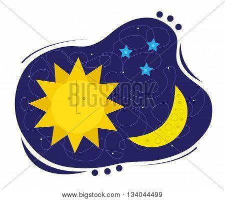Clip-art of sun, moon and stars. Eps10