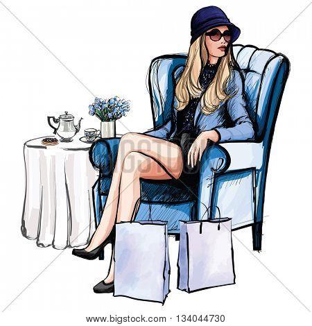 Woman having tea after shopping - vector illustration