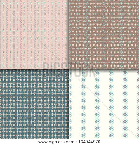 Geometric seamless patterns. Abstract pattern set. Ethnic background, aztec pattern