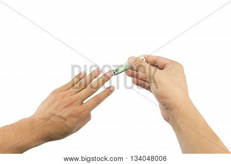 Man Cutting Fingernails With Nail Clipper Isolated On White Background