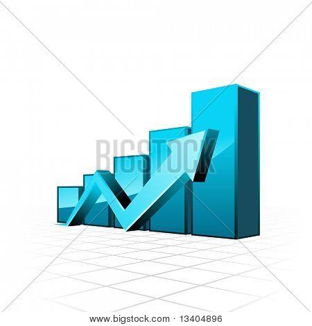 Vector 3d blue arrow graph