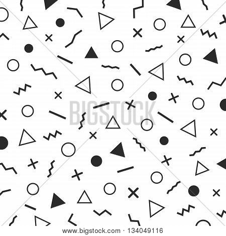 black and white minimal patterns the era 80's - 90's years memphis design isolated on white background