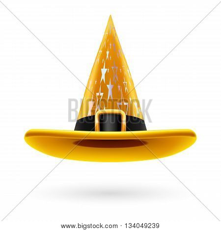 Yellow witch hat with golden buckle hatband and silver stars ornament