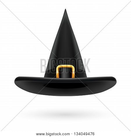 Black witch hat with golden buckle and hatband