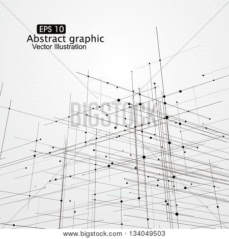 Dot and line composition abstract graphics,Vector illustration.