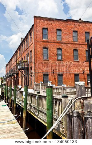 WILMINGTON, USA - JUNE 3, 2011: old historic brick houses at the harbor