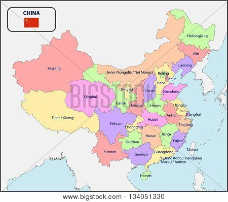 Illustration of a Political Map of China with Names