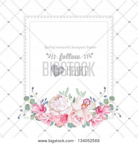 Square floral vector design frame. Orchid rose peony carnation flowers and eucaliptus leaves. Simple backdrop with diagonal lines and small princess crowns. All elements are isolated and editable.