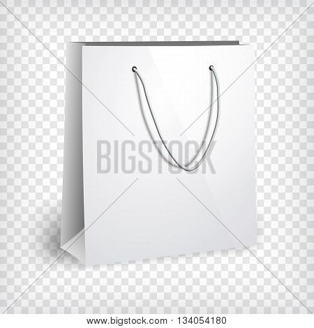 Blank paper bag template. Shopping bag, photo realistic template. Corporate identity mock up. Sales and shopping concept. Vector illustration.