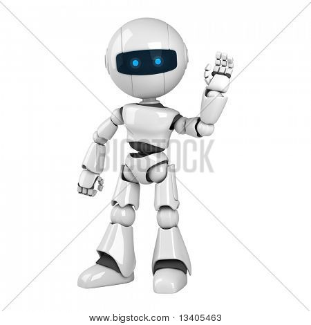 Funny white robot stay sign hello