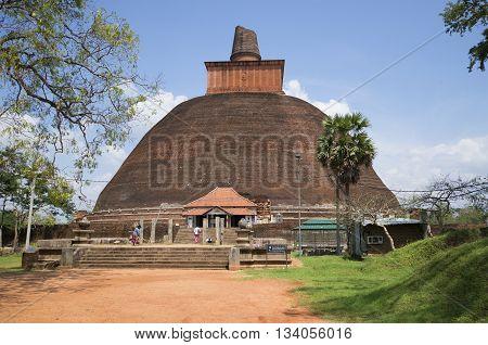ANURADHAPURA, THAILAND - MARCH 11, 2015: The Jetavana Dagoba in Anuradhapura. Religious landmark of the Anuradhapura, Sri Lanka