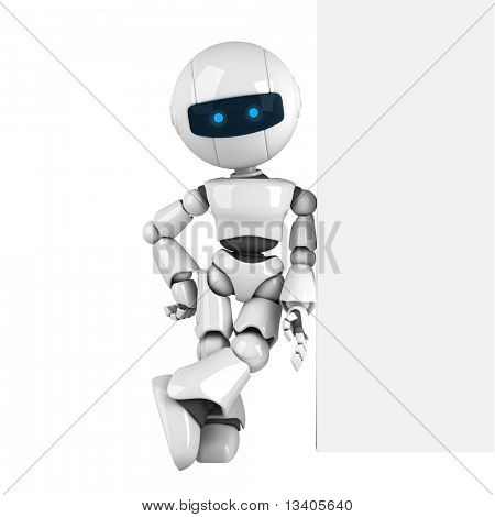 Funny white robot stay with wall